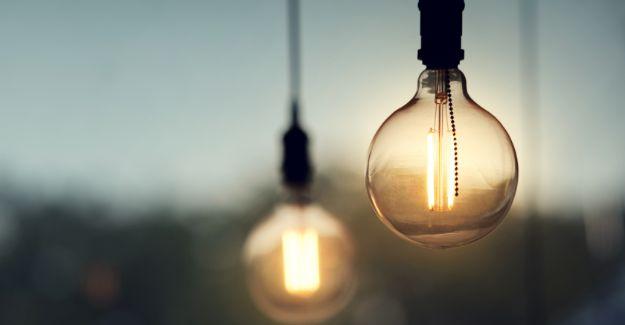 Orange filament bulb hang outside