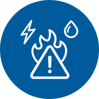 White icon illustrating danger including water and electricity on a blue background