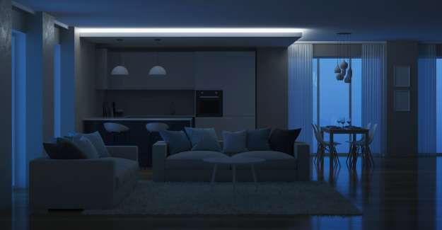 View of living room in the darkness
