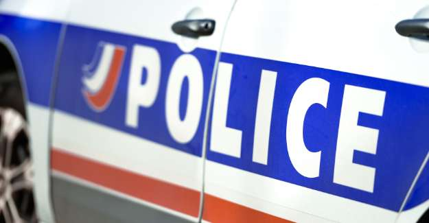 French Police car from side on the door written POLICE