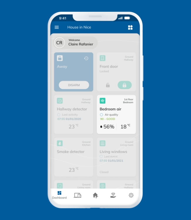 White smartphone displaying Nearsens app with focus on the bedroom air quality tile