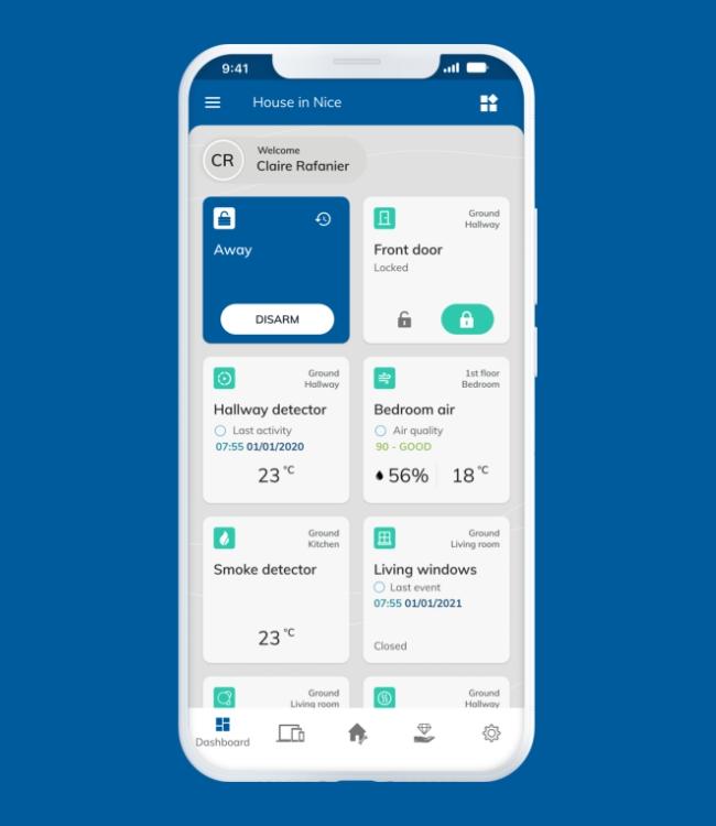 White smartphone displaying Nearsens app dashboard