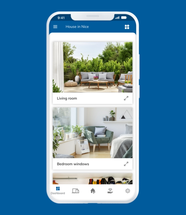 White smartphone displaying camera videos in Nearsens app