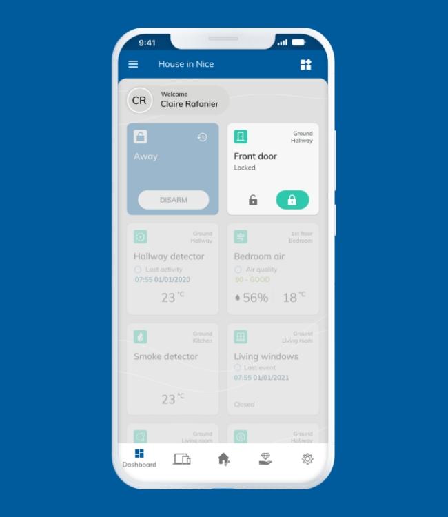 White smartphone displaying Nearsens app with focus on the front door smart lock