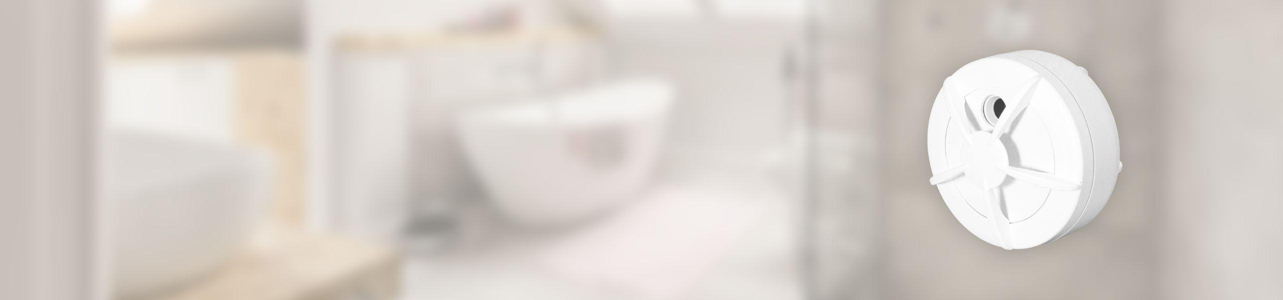 White water leak alarm sensor Nearsens with bathroom on the background